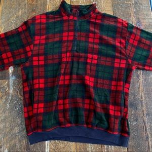 🍂Gap Red & Green Oversized 1/4 Zip Plaid Sweater